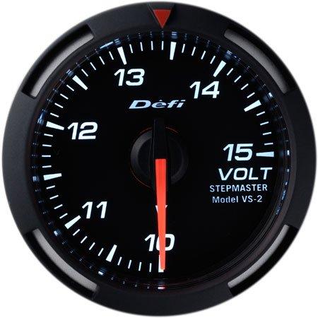 Defi DF07006 Racer Voltage Gauge, White, 52mm