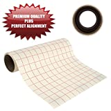 30.5cm by 2.4m PREMIUM Transfer Paper Tape Roll with Grid - PERFECT ALIGNMENT for Cricut or Silhouette Cameo Self Adhesive Vinyl for Walls, Signs, Decals, Windows, and More