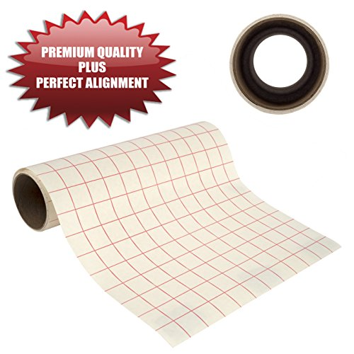 "Angel Crafts 12"" by 8' PREMIUM Transfer Paper Tape Roll with Grid - PERFECT ALIGNMENT for Cricut or Silhouette Cameo Self Adhesive Vinyl for Walls, Signs, Decals, Windows, and More"