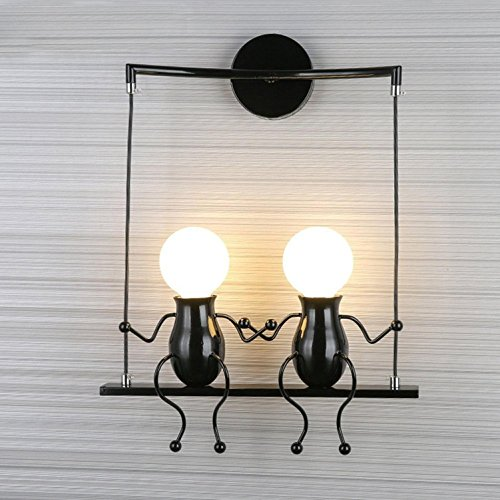 GRFH Nursery wall lamp modern living room bedroom bedside wall lamp creative character corridor wall lamp corridor children room wall Lamp , black double head by GRFH