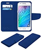 Acm Mobile Leather Flip Flap Wallet Case for Samsung Galaxy J1 4g Mobile Cover Blue