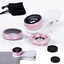 ONX3 Samsung Galaxy S5 / S5 Neo / S5 (octa-core) / S5 Duos / S5 Plus / S5 LTE-A G901F / S5 LTE-A G906S / S5 CDMA (Pink) Mobile Phone Universal Camera Lens 3 in 1 Kit Wide Angle Lens + Fisheye Lens + Macro Lens with Clip-on 180 Degree For Both Android and iOS Devices