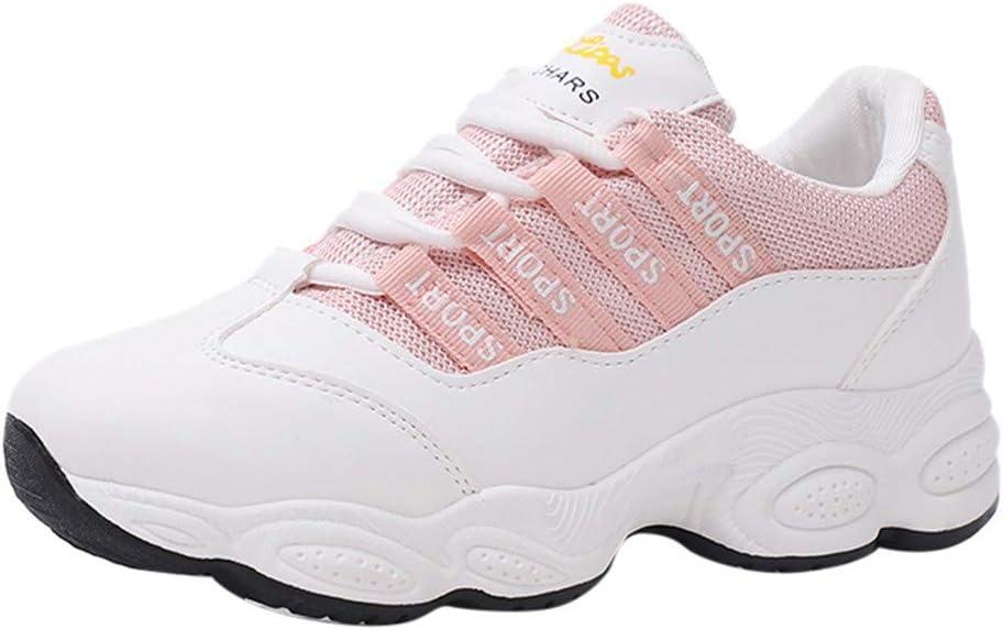 RYTEJFES Zapatilla de Deporte Para Mujer Zapatillas Deportivas Transpirables con Cordones Y Punta Redonda para Mujer Estudiantes Zapatos Blancos: Amazon.es: Hogar