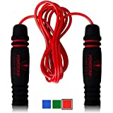 PowerSkip Jump Rope with Memory Foam Handles & Weighted Speed Cable ? Best Jump Ropes for CrossFit, Fitness Workout, Jumping Exercise, Skipping, MMA and Boxing (Perfect for Adults & Kids/Children) - Red