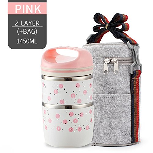 New Japanese Bento Lunch Box - Fiesta WORTHBUY New Arrival Japanese Lunch Box For Children Portable Leak-Proof Food Container Stainless Steel Kids Thermal Bento Box: Pink 2 layer Set