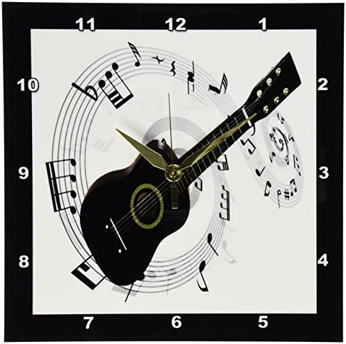 3dRose dpp_50912_1 Music Notes Guitar Wall Clock, 10 by 10-Inch