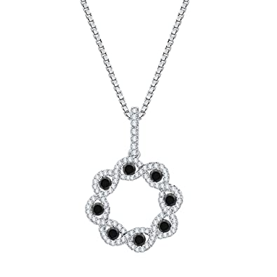 522c0d24376 Black and White Diamond Fashion Pendant Necklace in 10K White Gold (3/4 cttw