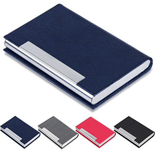 Business Card Holder, JuneLsy Business Card Case PU Leather and Stainless Steel Card Holder for Men and Women with Magnetic Shut Keep Business Cards Clean(Blue)