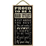 Amazon hair stylist business card holder office products sjt94208 proud to be a hair stylist 5 x 10 wood sign colourmoves