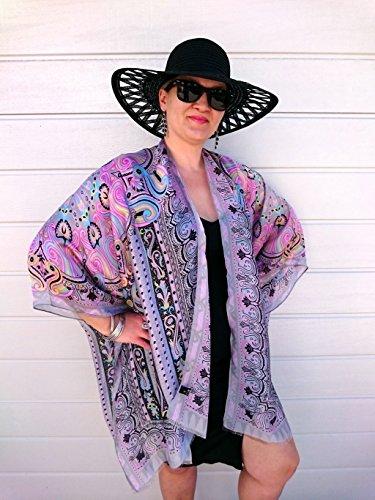 Plus Size Kimono, Paisley Beach Cover Up, Pink Silk Robe