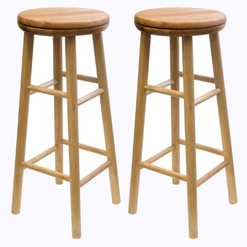winsome wood 30-inch swivel seat barstool with natural finish, set of 2