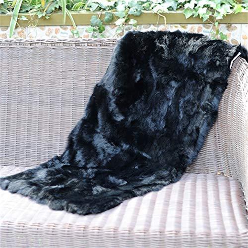 yingda1992 Real Black Genuine Rabbit Fur Plate Rug Throw Blanket Rugs and Carpets for Living Room Black 22X43in
