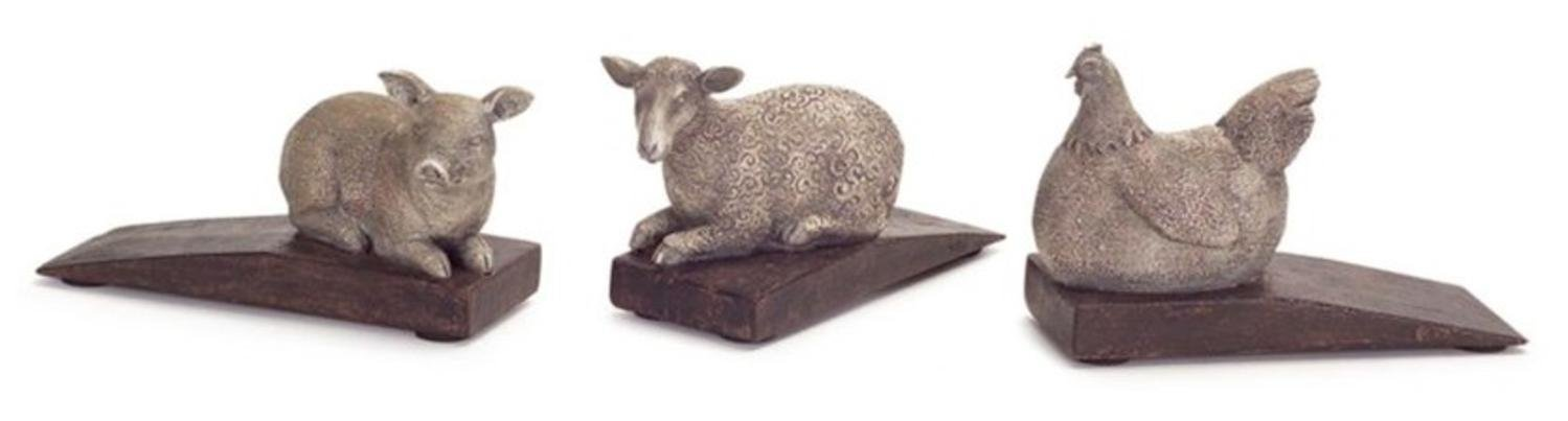 """Pack of 9 Country Rustic Hen, Lamb and Pig Door Stoppers 2.5"""""""