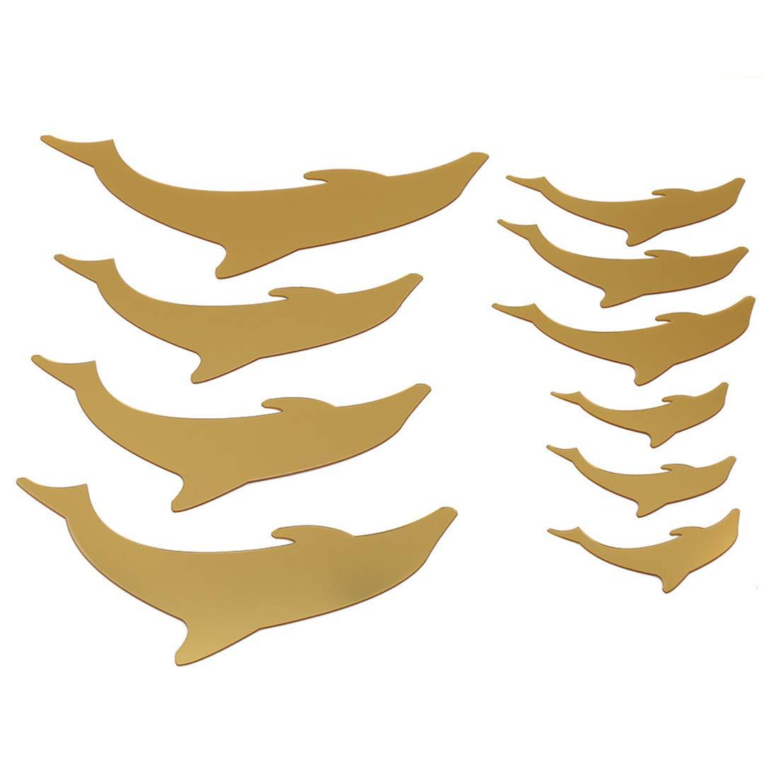 Faliya Süße Liebes-Delphine, Reizende 3D Selbstklebende Spiegel-Wand-Aufkleber-Moderne Stilvolle Mode-Kunst-Entwurf Entfernbarer Wand-Abziehbild für Paar-Raum, Wohnzimmer, Haus,Gold