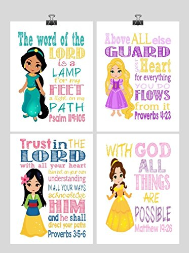 Belle Disney Lamp - Princess Set of 4 - Christian Nursery Decor Wall Art Print - Rapunzel, Jasmine, Belle, Mulan - Bible Verse - Multiple Sizes