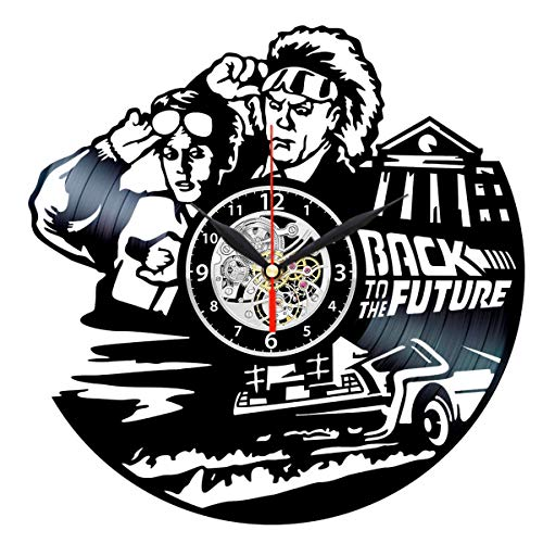 Back to Future Clock Vinyl Record Wall Decor - Movie Themed Gifts for Men -