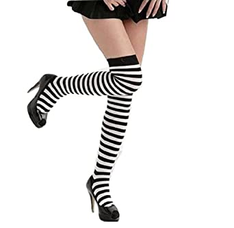 【2足セット】 シンプル ボーダー ニーハイソックス 靴下 くつ下 白黒 細ボーダー レディース オーバー