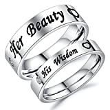 Aooaz Rings For Him And Her Couple Rings Wedding Promise Rings Partner Rings Silver Her Beauty Love Heart His Wisdom Love Heart Rings With Free Engraving Womens 4 & Men 11 Novelty Jewelry Gift