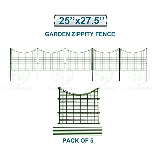 SoLGear Wire Garden Border Fence Metal Fencing Flower Bed Edging Each Panel 25'' High 27.5'' Wide Total 5 Panels A Set Perfect for Vegetable Flower Garden Patio Deck Barrier Keep Dogs Pets in and out Flower Panels Set