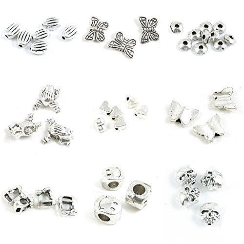 42 Pieces Antique Silver Tone Jewelry Making Charms Skull Loose Beads Smile Smiley Face Music Note Butterfly Love Heart Frog Prince Flat Round Spacer Caps Stripe Oval