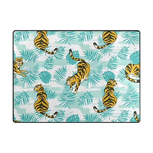 My Little Nest Area Rug Tropical Tigers Palm Leaves Lightweight Non-Slip Soft Mat 4' x 5'3