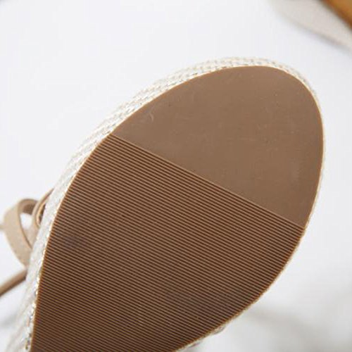 Sandals Feifei Women's Shoes Summer PU Material Comfortable Non-Slip High-Heeled Black Beige Optional Beige el0jVCdL