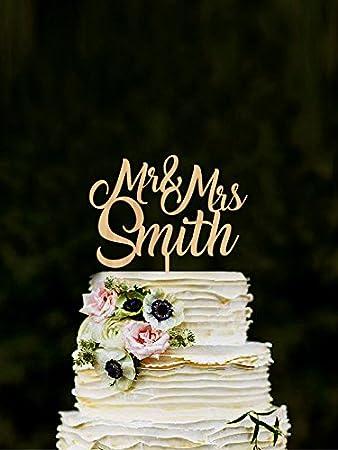 Custom Mr Mrs Cake Toppers For Wedding Name Topper Rustic