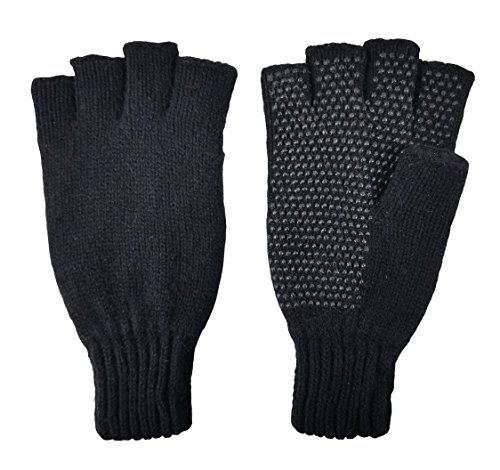 Bruceriver Men's Wool knitted Fingerless Ragg Gloves with Thinsulate Lining (Black)