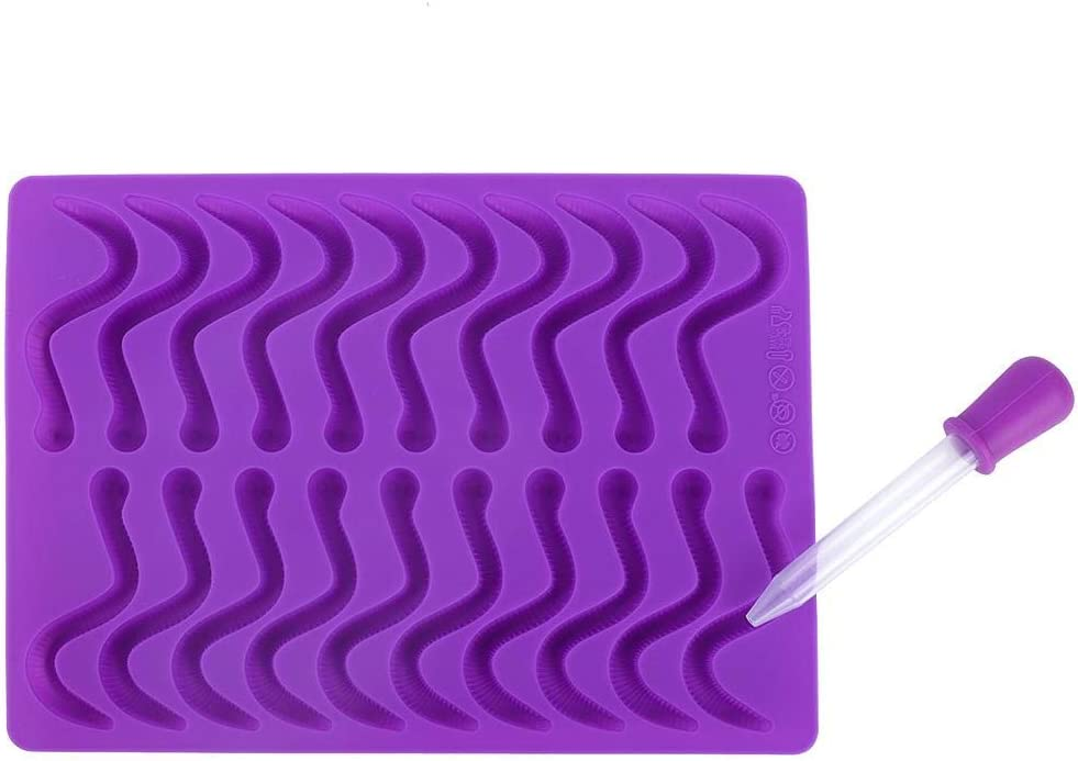 Wifehelper 20 Compartments Gummy Worms Silicone Mold for Chocolate Candy Gummy Cake with Dropper Food Grade Material