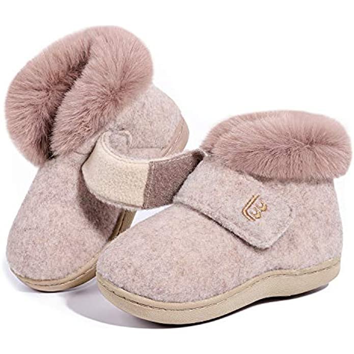 LongBay Kids Girls Warm Fuzzy Faux Fur Boot Slippers Memory Foam House Shoes with Adjustable Hook and Loop