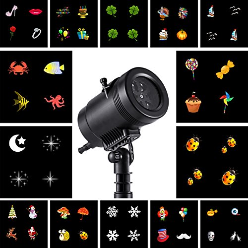 Gemtune Christmas Light Projector LED with 14 Switchable Patterns, Indoor and Outdoor Waterproof Spotlight Night Light for Christmas Halloween Party Birthday Holiday Landscape Decoration