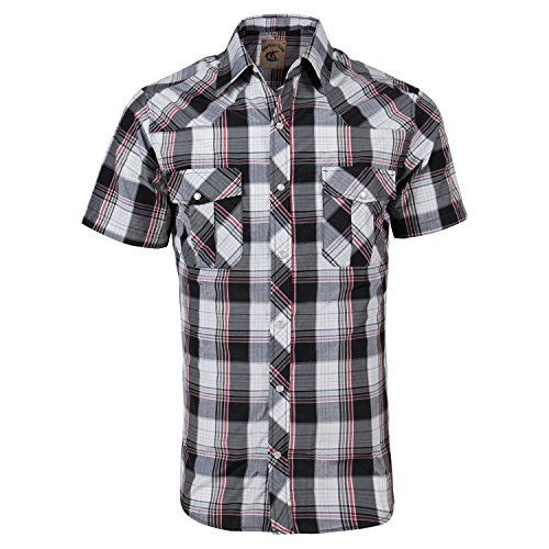 Coevals Club Men's Snap Button Down Plaid Short Sleeve Work Casual Shirt (Black & Red #18, S)