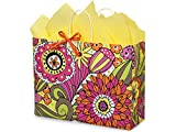 Pack Of 250, Vogue 16 x 6 x 12.5'' Floral Doodle Garden Recycled Shopping Bag Made In USA