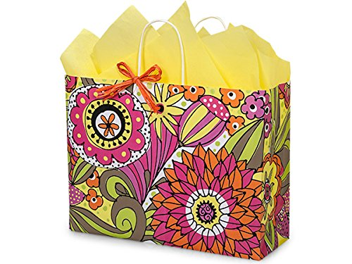 Pack Of 250, Vogue 16 x 6 x 12.5'' Floral Doodle Garden Recycled Shopping Bag Made In USA by Generic