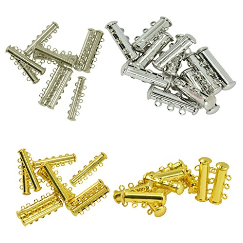 Baosity 40 Pieces Multi Strand Slide Magnetic Tube Lock Clasp Connectors for Jewelry Necklace Bracelet Making Findings