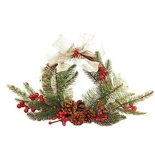 Christmas Door Wreath, Elevin(TM) 25cm Christmas Wreath Door Wall Ornament Garland Decoration White Bowknot by Elevin(TM) _ Home Decor & Kitchen
