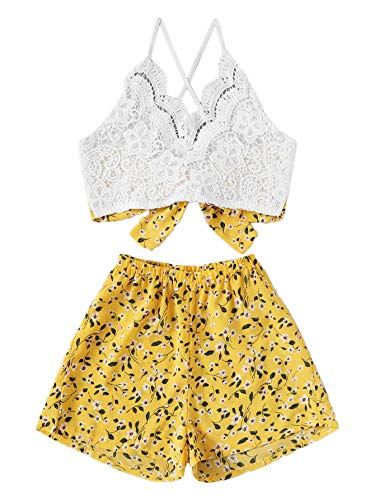SheIn Women's Boho 2 Pieces V Neck Lace Crop Top and Striped Shorts Outfits Yellow