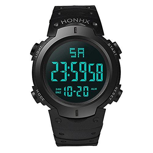 Led Watch Winder,Fashion Waterproof Men's Boy LCD Digital Stopwatch Date Rubber Sport Wrist Watch,Black