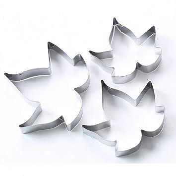 Molde para galletas de tartas, 3 piezas, diseño de hoja de arce rojo para decoración de tartas, plata, Tamaño libre: Amazon.es: Hogar