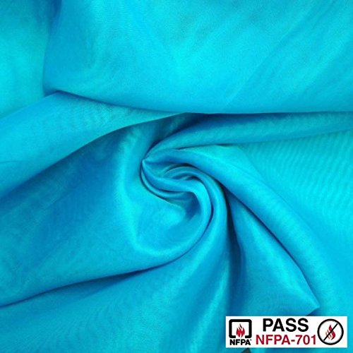 FR Sheer Voile Fabric Fire Retardant 118' Wide Window Curtain Drapery and Apparel per yard 100% polyester (1 Yard, Turquoise)