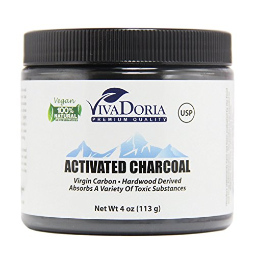 VIVADORIA Virgin Activated Charcoal Powder, Food Grade, 4 oz