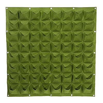 Yosoo 81 Pockets Planting Bags Wall Hanging Gardening Planter Outdoor Indoor Vertical Greening Grow Bags Flower Growing Container, Green: Kitchen & Dining