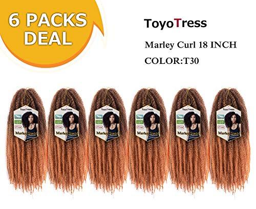 ToyoTress 6 Packs 18 inch Ombre Marley Braid Hair Afro Malrey Twist Braiding Hair 100% Kanekalon Synthetic Marley Braids Crochet Braiding Hair (18', T30)