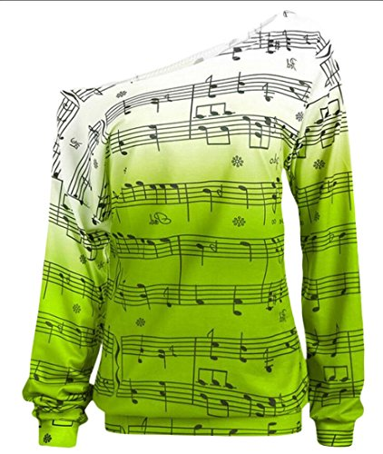 One 1 amp;W Shouder M Women's Pullover Casual Sweatshirt Top amp;S 4Iq4w6pna