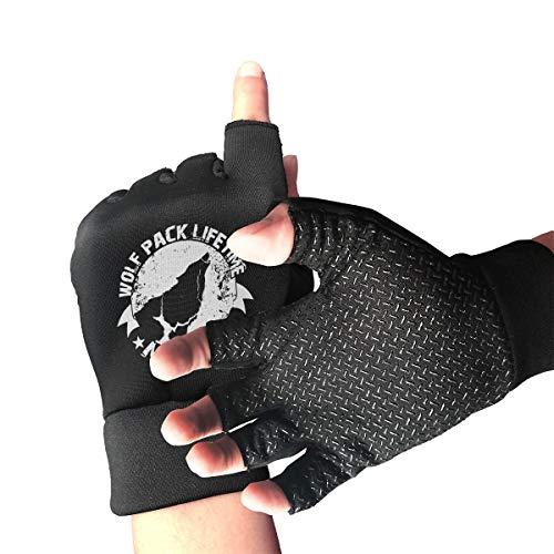 JHDKDGH-N Wolf Pack Lifetime Member Cycling Half Finger Short Gloves
