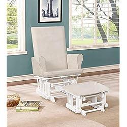 Naomi Home Mateo Wood & Upholstered Glider and Ottoman Set White/Cream