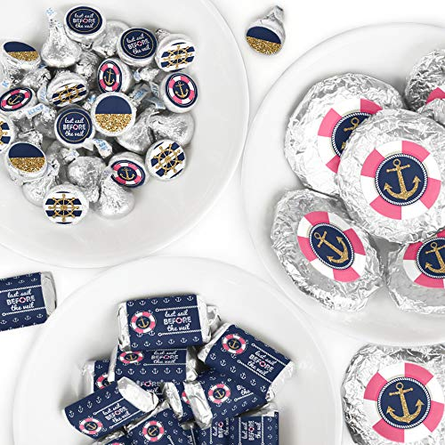 Last Sail Before The Veil - Mini Candy Bar Wrappers, Round Candy Stickers and Circle Stickers - Nautical Bachelorette and Bridal Shower Candy Favor Sticker Kit - 304 - Wrapper Shower Bridal Candy