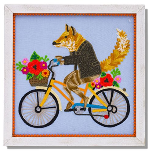 Karma Living Embroidered Hanging Wall Art with Pom Pom Trim - Fox on Bicycle - 14
