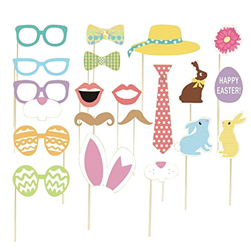 [Happy Easter - Easter Photo Booth Props Kit - 20 Count] (Roaring 20s Costumes Diy)