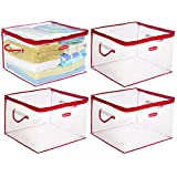 Rubbermaid (4 Pack Flex Plastic Storage Containers Handles Zipper Storage Bags Clothes Blankets Toys